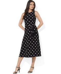 Lauren Ralph Lauren Sleeveless A-Line Polka-Dot Dress