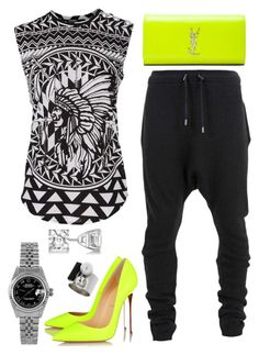 """""""Neon Lights"""" by fashionkill21 ❤ liked on Polyvore featuring Balmain, Yves Saint Laurent, Christian Louboutin, Allurez, Rolex and Topshop"""