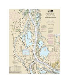 Columbia River, Saint Helens to Vancouver Nautical Chart Sailcloth Print