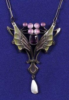 Art Nouveau Silver, Amethyst, and Plique-a-jour Enamel Pendant Necklace