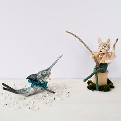Ginger Tom Cat fishing for a swordfish spun cotton character ornaments OOAK art dolls figurines