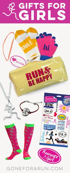 Find the perfect gift for the girl who loves running! Choose from gift sets, jewelry, stickers to decorate her laptop and binders plus so much more.