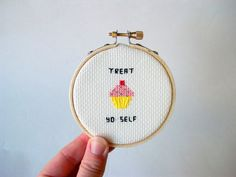 Treat Yo Self cupcake cross stitch choose one by aliciawatkins