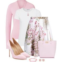 Pink and White by snickersmother on Polyvore featuring Lucien Pellat-Finet, AG Adriano Goldschmied, Blugirl, Manolo Blahnik, Forever New, 1928 and Allurez