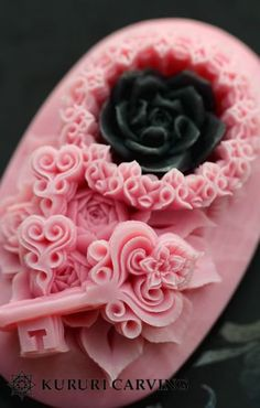 pink with black rose carved soaps...dressed to the nine's...