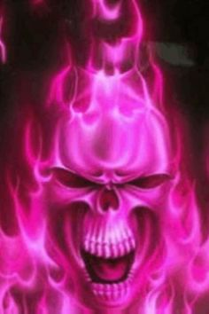 pink skulls background | View bigger - Pink Flaming Skull Wallpaper for Android screenshot