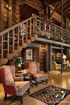Modern Cabin Interior, Cabin Interior Design, Interior Ideas, Log Cabin Living, Log Cabin Homes, Log Cabins, Diy Log Cabin, Cabin Style Homes, Rustic Cabins