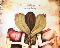 Three sisters vintage  art print with quote by claudiatremblay