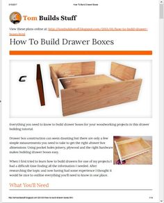 Learn Woodworking Everything you need to know to build drawer boxes for your woodworking projects in this drawer building tutorial. Woodworking Joints, Learn Woodworking, Woodworking Patterns, Easy Woodworking Projects, Diy Wood Projects, Woodworking Plans, Woodworking Jigsaw, Woodworking Furniture, Crate Furniture