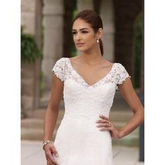 All-over Lace Beaded Cap Sleeves A-line Wedding Dress hiwdmc5
