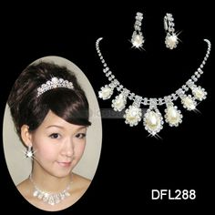Elegant Lustrous Alloy with Rhinestone Wedding Jewelry Sets(including Necklace and Earring) Drop Necklace, Rhinestone Necklace, Crystal Necklace, Crystal Rhinestone, Rhinestone Wedding, Wedding Jewelry Sets, Engagement Jewelry, Bridesmaid Flats, Ivory Pearl