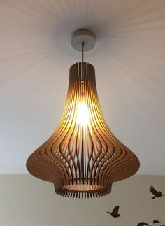 Porcelain-inspired laser cut wooden lampshade No.3 by baraboda