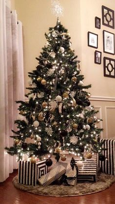 Awesome Black And Gold Christmas Decor Ideas. Here are the Black And Gold Christmas Decor Ideas. This article about Black And Gold Christmas Decor Ideas was posted  Black Christmas Tree Decorations, Black Christmas Trees, Diy Christmas Tree, Christmas Colors, Rustic Christmas, Minimal Christmas, Christmas Border, Traditional Christmas Tree, Holiday Tree