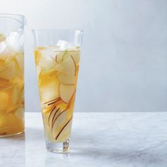 Hard Cider Sangria | Instead of wine, this juicy sangria is made with hard cider spiked with lemon juice and apple brandy.