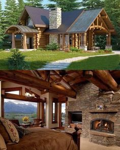 34 Inspiring Wooden House Design Ideas For Interior And Exterior Design Wooden House Design, Wooden Houses, Small Wooden House, Log Houses, Exterior Design, Interior And Exterior, Log Homes Exterior, Kitchen Interior, Log Cabin Homes