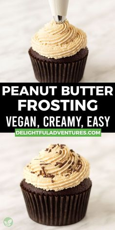 Quick, easy, creamy vegan peanut butter frosting that's light, fluffy, and perfect for cakes, cupcakes, macarons, brownies, and more. This simple homemade recipe makes the best dairy-free peanut butter icing that pairs perfectly with chocolate desserts (and it's naturally gluten-free!). Once you learn how to make it, you'll want to make it over and over again! Easy Vegan Cake Recipe, Gluten Free Cupcake Recipe, Vegan Cupcake Recipes, Vegan Gluten Free Desserts, Gluten Free Recipes For Breakfast, Vegan Cupcakes, Homemade Recipe, Vegan Treats, Sweets Recipes