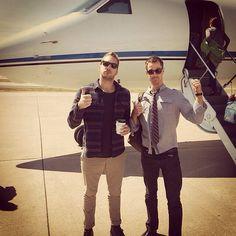 Ryan Hansen (Dick Casablancas) and Jason Dohring (Logan Echolls) on the set of Veronica Mars.