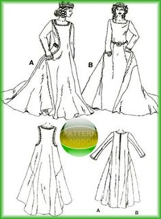 14th century womens surcote pattern | Great pattern to create a circa 14th Century Sideless Surcote/Surcoat ...