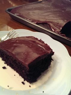 A dark chocolate cake covered in a silky chocolate Ganache icing....heavenly!