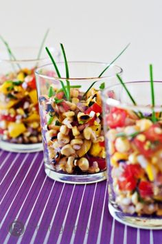 This Grilled Corn Summer Salad would be great served in shot glasses, too! or how about some short stemmed glassware?