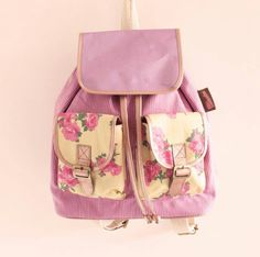 Pink flowered backpack so delicate and very girly