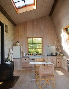 Kitchen With Skylight--I love the colors and the simplicity of this kitchen.  Beautiful and serene.