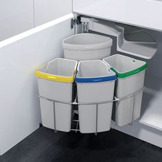 The ultimate in practical waste management, colour coded compartments makes recycling simple. Swing out mechanisms mean waste bins fit all cupboard doors. #recycling #kitchen #cleverbins