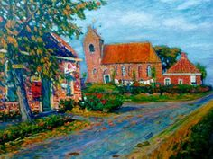 Johannes 'Johan' Dijkstra (Groningen 1896-1978) Gezicht op Oostum - Kunsthandel Simonis en Buunk, Ede (Nederland).