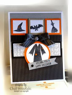 "Witch's robe is in the center circle, along with hat, bat and broom inchies, all from the Tee-hee-hee stamp set.  Stamped on white paper, layered on orange, all placed on a striped background.  ""eek eek eek"" is also featured on this handmade Halloween card."