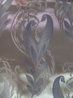 VINTAGE OLD HOLLYWOOD GLAM SILVER MIRROR LIKE BLUE FLORAL FABRIC