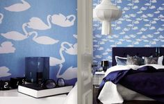 Eco wallpaper. I love the swans.