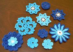 Handmade Crocheted Sea Color Appliqués by MomDaughterCraft on Etsy, €6.50