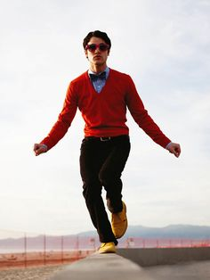 Yellow shoes, red sweater and bow tie on the MOST stylish man