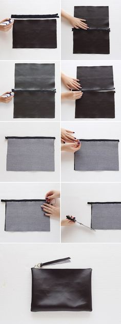 Sewing Projects DIY Fashion - no-sew leather clutch bag tutorial; craft project idea - Besides being budget-friendly, this DIY bag is a no-sew project — all you need to hold the bag together is fabric glue! Sewing Hacks, Sewing Crafts, Sewing Projects, Sewing Diy, Project Projects, Sewing Tutorials, Fabric Crafts, Leather Craft, Diy Bags