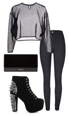 """""""Untitled #1395"""" by antoniajulia on Polyvore featuring Yves Saint Laurent, Jeffrey Campbell and Balmain"""