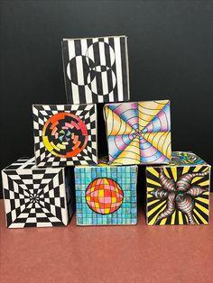 High School Art, Middle School Art, Op Art Lessons, Art Cube, 8th Grade Art, Cubes, Zentangle Patterns, Optical Illusions, Artist Art