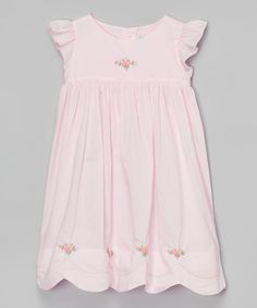 Look at this Pink Rosette Scallop Embroidered Dress - Infant & Toddler on #zulily today!
