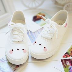 Color:A.Size B(M) US D(M) US Men = EU size 35 = Shoes length Fit foot length B(M) US D(M) US Men = EU size 36 White students hand-painted canvas shoes *** Read more details by clicking on the image. Kawaii Shoes, Kawaii Clothes, Kawaii Dress, Cute Shoes, Me Too Shoes, Girls Shoes, Baby Shoes, Mode Kawaii, Painted Canvas Shoes