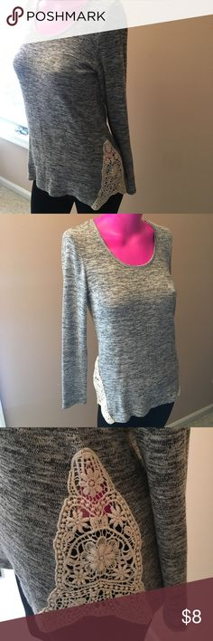 Forever21 Gray Lace Sweater NWT Gray heathered sweater with off white lace detail on sides. Let me know if you need measurements!! Forever 21 Sweaters