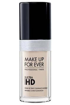 MAKE UP FOR EVER ULTRA HD INVISIBLE COVER FOUNDATION  This product may not contain the specific acne-fighting ingredients that the previous two do, but it's a pretty great option nonetheless. It's perfect for women with both sensitive and acne-prone skin, as the gentle formula won't irritate your pores and the natural-looking finish blurs any sign of redness. Best of all: The fluid texture blends easily and won't leave your skin looking remotely cakey.