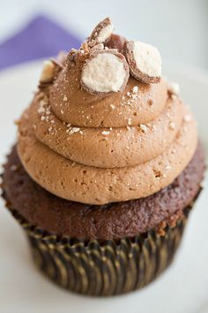 Malted Milk Chocolate Cupcakes - Both the cupcakes and the frosting are infused…