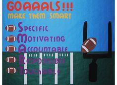 Goals football bulletin board. Goals Football, Football Themes, Football Quotes, Football Bulletin Boards, School Bulletin Boards, Sports Theme Classroom, Classroom Ideas, Board Decoration, Learning Support