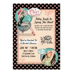 Pin Up Girls Bridal Shower Invitations | Pink Dots