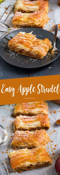 This quick and easy Apple Strudel is made with sheets of ready made filo pastry and filled with a spicy, sweet apple mixture. This quick and easy Apple Strudel is made with sheets of ready made filo pastry and filled with a spicy, sweet apple mixture. Desserts Keto, Apple Dessert Recipes, Easy Desserts, Baking Desserts, Autumn Recipes Baking, Desserts With Apples, Cooking Apple Recipes, Baking Ideas, Cheesecakes