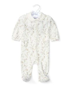 Z1R7N Ralph Lauren Footed Floral Pima Coverall, Cream/Purple, Size Newborn-9 Months