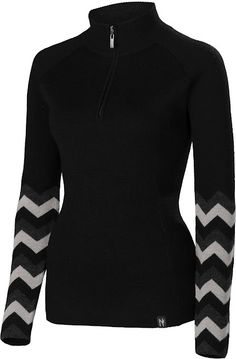 Stacey:Black/Charcoal ~Stay active while wearing the Stacey quarter zip-neck.  This 100% ultra-fine merino ready-to-wear sweater adds an energizing jolt of color to any wardrobe.