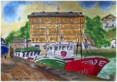 Puerto de Luarca con el Mesón de La Mar al fondo. Pintado con acuarelas y acrílico.