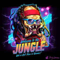 A very retro Predator t-shirt by Rocky Davies. Welcome to the jungle. Show everyone that you are a fan of Predator with this t-shirt. New Retro Wave, Retro Waves, Retro Kunst, Retro Art, Arte Horror, Horror Art, Cultura Pop, Iconic 80s Movies, Iconic Characters