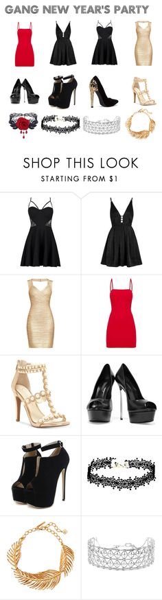 """""""Gang New Year's Party"""" by ohmygshsomeoneactually on Polyvore featuring Boohoo, Free People, Hervé Léger, Jessica Simpson, Casadei, WithChic, Oscar de la Renta and Co.Ro"""