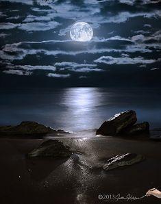 Moonrise over rocks at Boynton Inlet